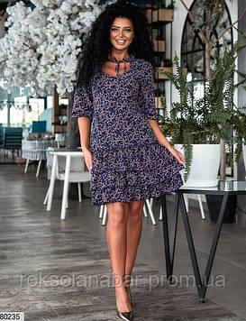 Платье мини темно-синего цвета с рюшами внизу