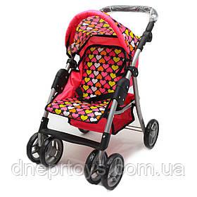 Коляска-трансформер для кукол 2в1 «Сердечки» Melogo, корзина для вещей, розовый, 60*30*55 см, (9352)