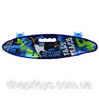 Пенни борд (скейт) синий со светящимися колесами и ручкой. Бесшумный Penny Board, 59*16*9 см, (MS 0461-2), фото 3