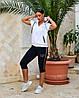 Жіночий літній повсякденний костюм спортивного стилю з трикотажу, фото 2