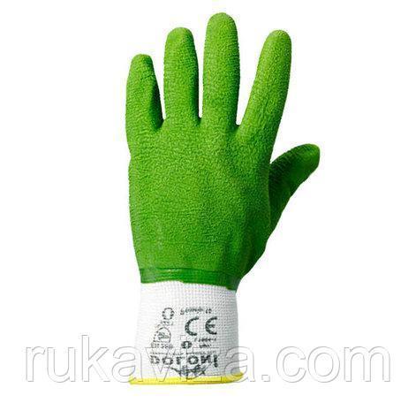 Рукавички DOLONI № 4526 трикотажні з латексним покриттям, повний обливши, розмір 10, зелені