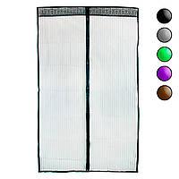Москітна сітка на магнітах 120х208 см Чорна однотонна, антимоскітна сітка на двері (москитная сетка)