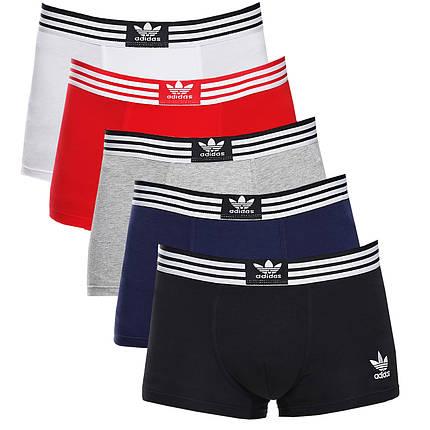 Набір чоловічих трусів боксерів Adidas (5шт) в подарунковій коробці бавовна Розмір M, фото 2