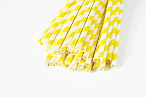 Паперова ЕКО трубочка Велика жовта смужка d5 20см (250шт/уп)(16уп/ящ)