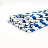 Паперова ЕКО трубочка Велика синя смужка d9 20см (250шт/уп)(10уп/ящ)