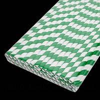 Паперова ЕКО трубочка Велика зелена смужка d9 20см (250шт/уп)(10уп/ящ)