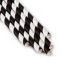 Паперова ЕКО трубочка Велика чорна смужка d5 20см (250шт/уп)(16уп/ящ)