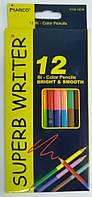Карандаши цветные двухсторонние Marco 12 карандашей 24 цвета