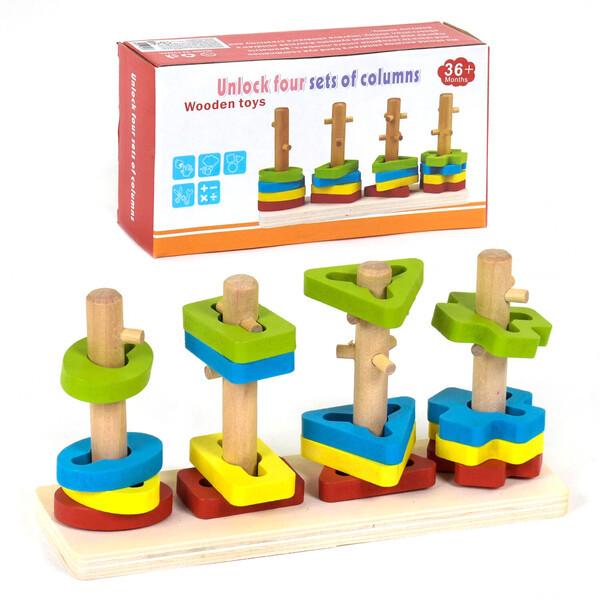 Дерев'яний сортер дитячий геометричний Розвиваюча іграшка для малюків (58709)