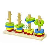Дерев'яний сортер дитячий геометричний Розвиваюча іграшка для малюків (58709), фото 2