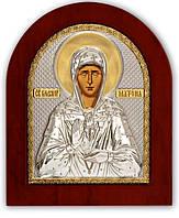 Святая Матрона Икона Серебряная с позолотой Silver Axion (Греция)  85 х 100 мм