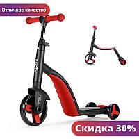"""Детский самокат, велобег, велосипед Nadle TF3-1 Красный трехколесный для детей 3 в 1 с сиденьем складной """"Wr"""""""