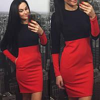 Платье двухцветное с карманами, фото 1