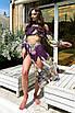 Пляжний шифоновий жіночий костюм топ і спідниця з розрізами, фото 2