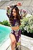 Пляжний шифоновий жіночий костюм топ і спідниця з розрізами, фото 5