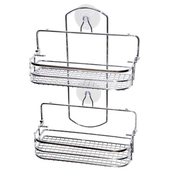 Полка для ванной Besser из хромированной стали прямоугольная раскладная 37х26х10см KM-0284