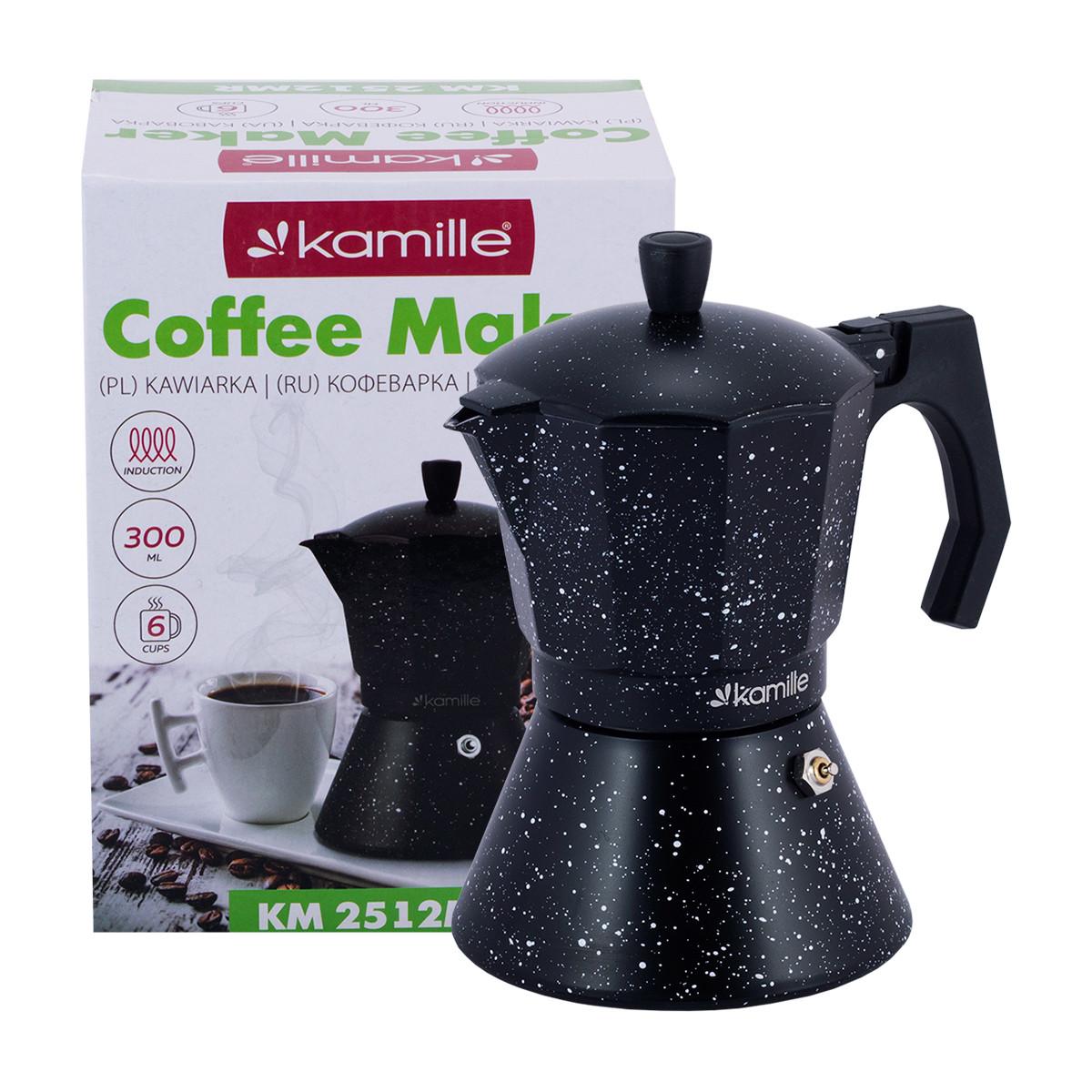 Кофеварка гейзерная Мрамор из алюминия с широким индукционным дном Kamille KM-2512MR (300 мл)