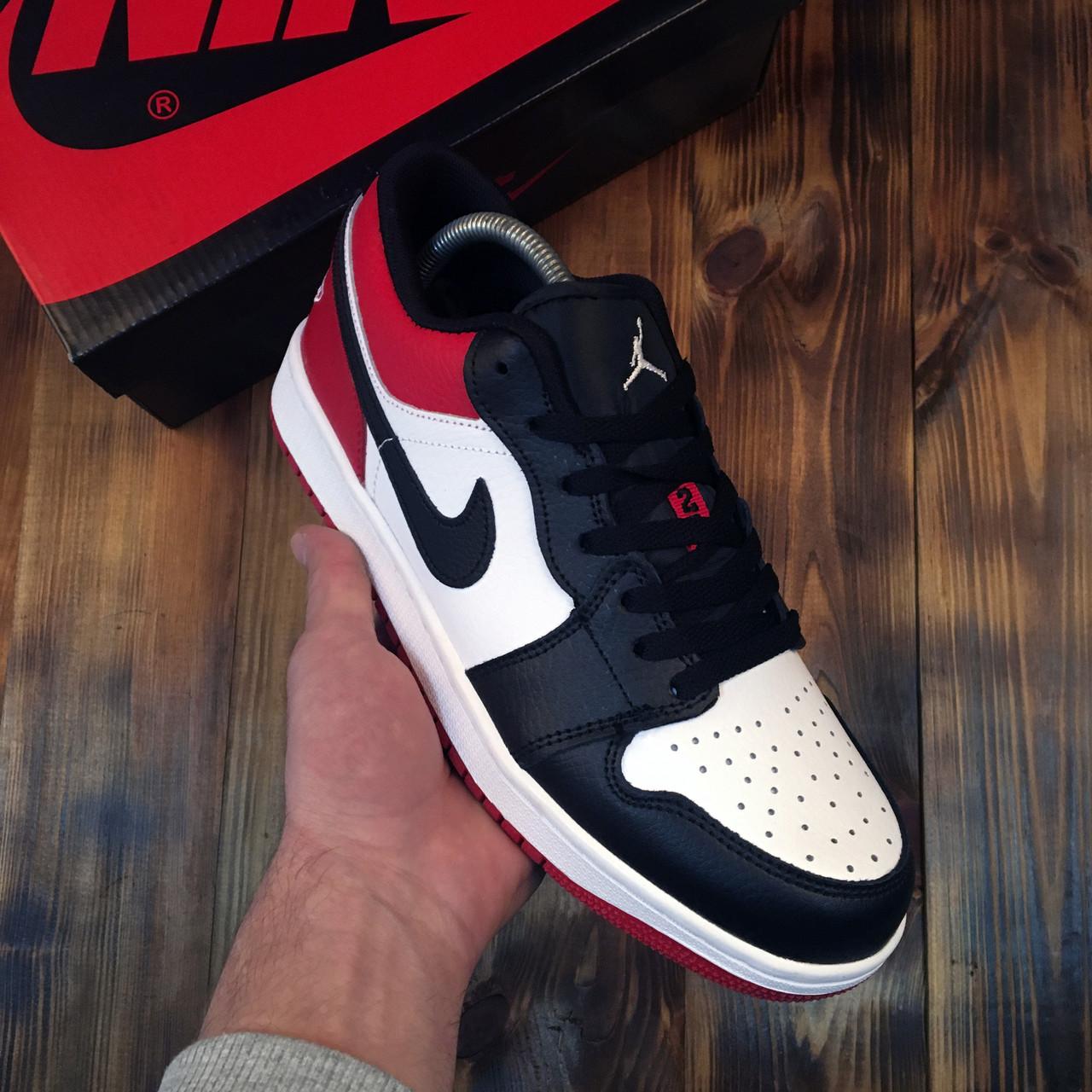 Чоловічі кросівки Nike Air Jordan 1 Low Red Black Найк Аїр Джордан 1 Лоу чорно червоні Репліка