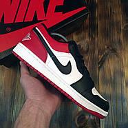 Чоловічі кросівки Nike Air Jordan 1 Low Red Black Найк Аїр Джордан 1 Лоу чорно червоні Репліка, фото 2