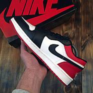 Чоловічі кросівки Nike Air Jordan 1 Low Red Black Найк Аїр Джордан 1 Лоу чорно червоні Репліка, фото 3