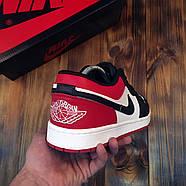 Чоловічі кросівки Nike Air Jordan 1 Low Red Black Найк Аїр Джордан 1 Лоу чорно червоні Репліка, фото 4