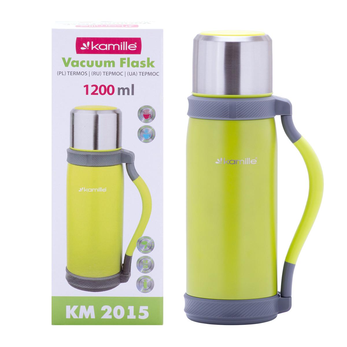 Термос из нержавеющей стали с ручкой и чашкой Салатовый Kamille KM-2015 (1200 мл)