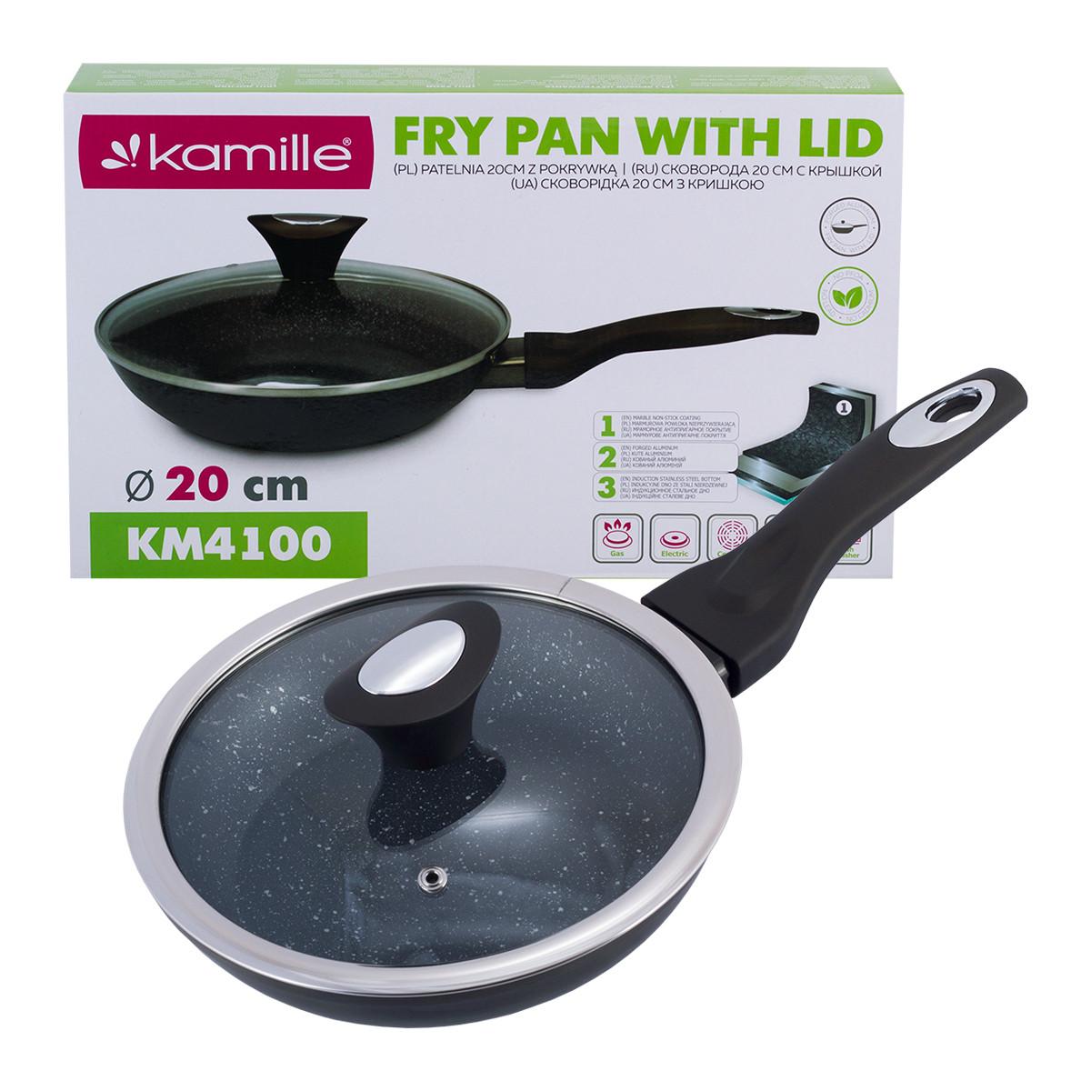 Сковорода с антипригарным покрытием из алюминия с крышкой для индукции и газа Kamille KM-4100 (20 см)