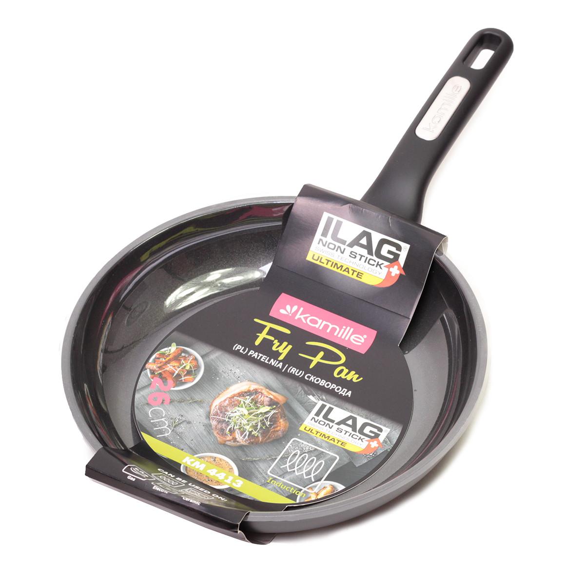 Сковорода Kamille KM-4413  26см з надміцним антипригарним покриттям ILAG з алюмінію для індукції і газу