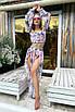 Модный женский пляжный костюм топ, юбка и повязка на голову, фото 3