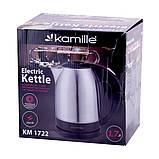 Чайник 1,7 л електричний Kamille KM-1722  з нержавіючої сталі, фото 8