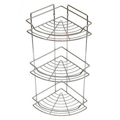 Полка для ванной угловая металлическая 3-х ярусная на дюбелях Besser KM-0435E (58х22х22 см)