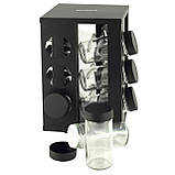 Набор ёмкостей черная для специй на подставке для сервировки стола Ofenbach KM 101001 (12шт), фото 2