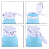 Чайник електричний силіконовий Kamille KM-1724 0,8 л., блакитний з білим, фото 8