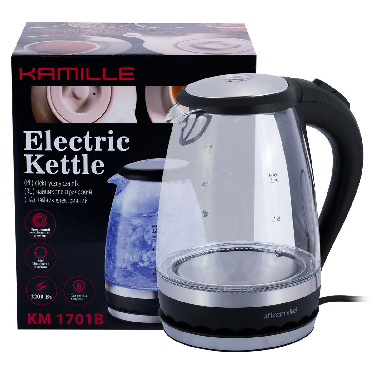 Чайник електричний Kamille KM-1701B 1.5 л з синім LED-підсвічуванням і сталевими декоративними вставками