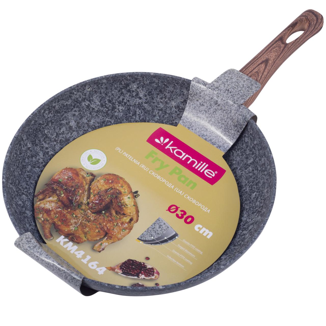 Сковорода Kamille KM-4164  30см з антипригарним покриттям Grey marble з алюмінію для індукції