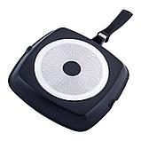 Сковорода-гриль с антипригарным покрытием  Kamille KM-4259 для индукции и газа (28*28*4 см), фото 3