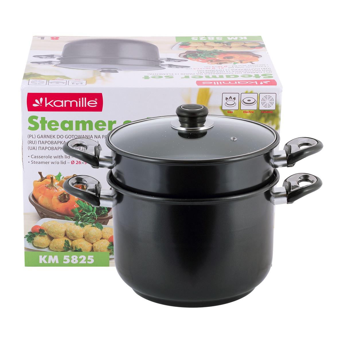 Пароварка Kamille KM-5825 2-х рівнева 8л з вуглецевої сталі для приготування їжі для індукції