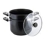 Пароварка Kamille KM-5825 2-х рівнева 8л з вуглецевої сталі для приготування їжі для індукції, фото 6