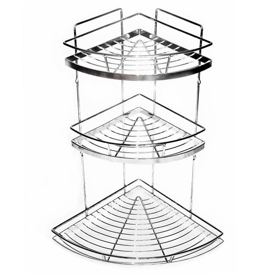 Полка для ванной металлическая угловая трехъярусная  Besser KM-0118 (55х30х30 см)