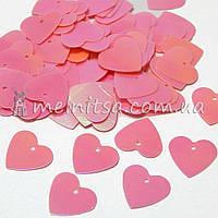 Пайетки Сердечки 1,4 см розовые хамелеон