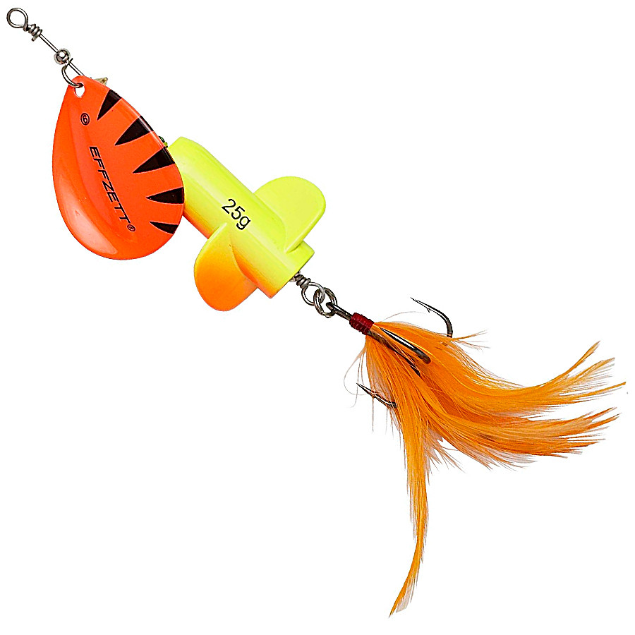 Блесна-вертушка DAM Effzett Rattlin' Spinner 11см 18гр (Fluo yellow/orange)
