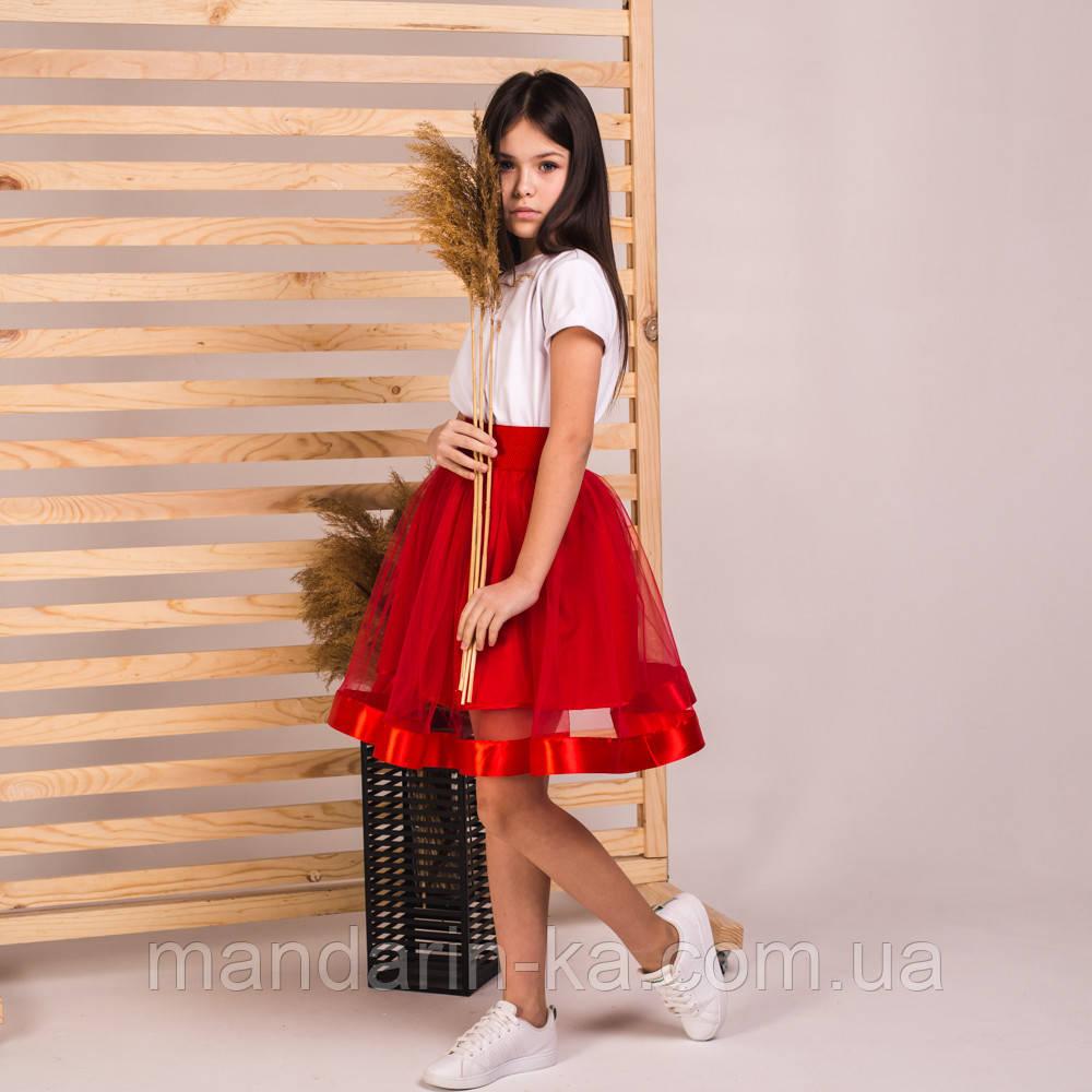 Детская пышная юбка маричка красного цвета