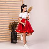 Детская пышная юбка маричка красного цвета, фото 2