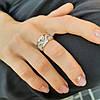 Срібне кільце з золотими пластинами і білими фіанітами Варвара жіноче