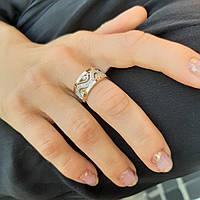 Срібне кільце з золотими пластинами і білими фіанітами Варвара жіноче, фото 1