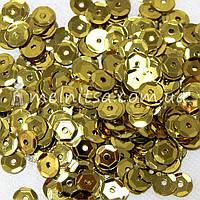 Пайетки круглые 6 мм шестигранник, золото