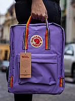 Рюкзак Fjallraven Kanken Rainbow (Фьялравен Канкен Веселка) Райдужні ручки / Purple / Світло Фіолетовий