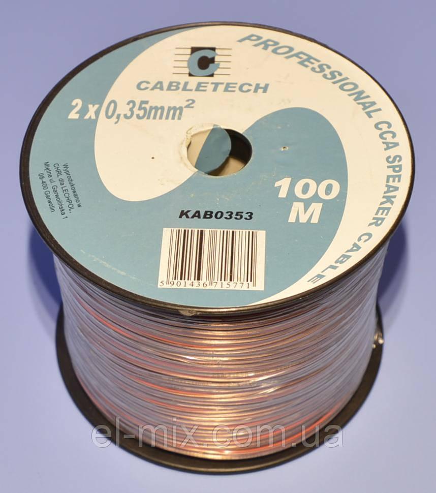 Кабель акустический CCA прозрачный  2х0,35мм кв. Cabletech KAB0353  бухта-100м