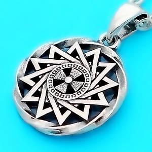 Звезда Эрцгаммы в круге двухсторонняя - амулет Эрцгамма из серебра 925 пробы (20 мм, 5.3 г)