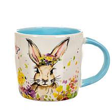 Чашка Цветочный кролик с голубой ручкой (400 мл.)